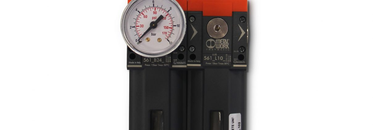3/8″ Air filter with lubricator assembly and pressure gauge